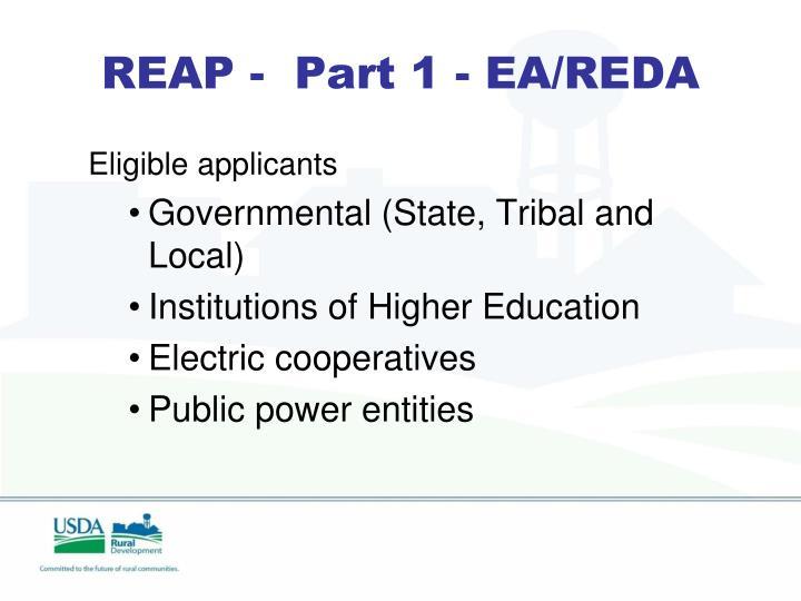 REAP -  Part 1 - EA/REDA