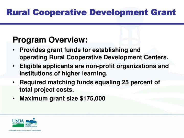 Rural Cooperative Development Grant