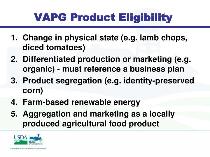 VAPG Product Eligibility