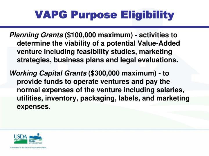 VAPG Purpose Eligibility