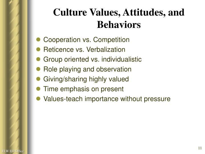 Culture Values, Attitudes, and Behaviors