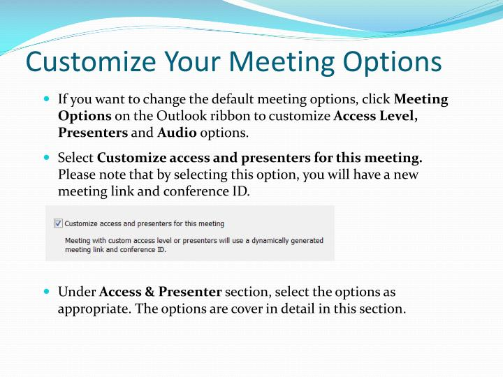 Customize Your Meeting Options
