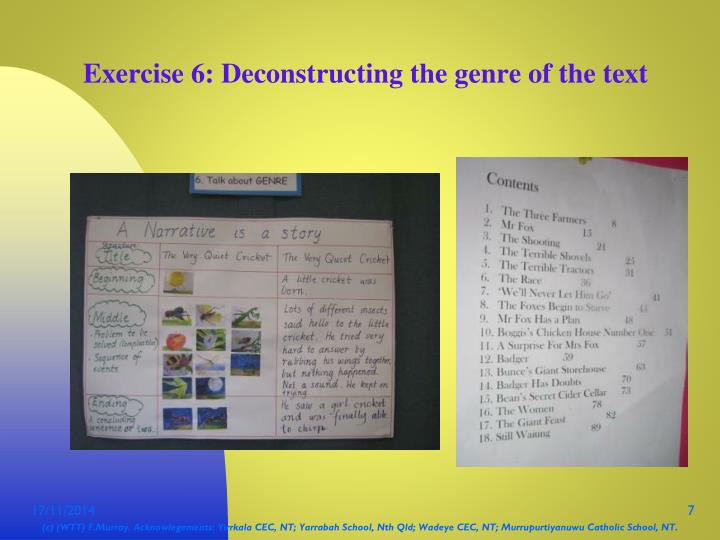 Exercise 6: Deconstructing the genre of the text