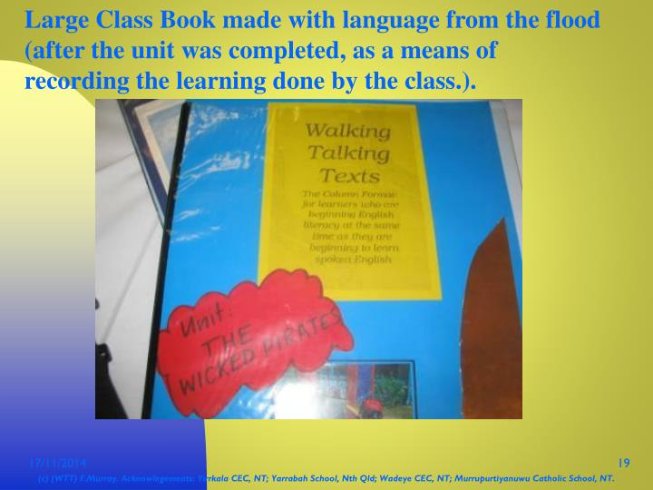 Large Class Book made with language from the flood (after the unit was completed, as a means of recording the learning done by the class.).