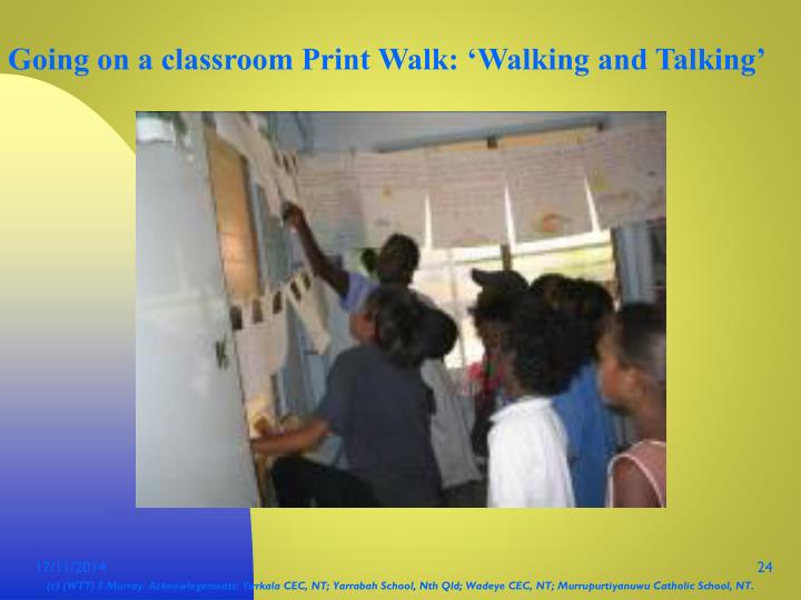 Going on a classroom Print Walk: 'Walking and Talking'