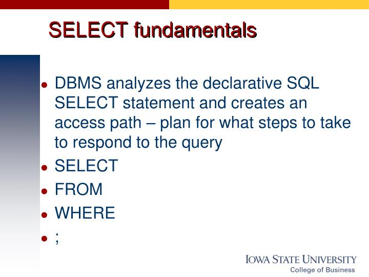 SELECT fundamentals