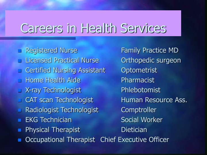 Careers in Health Services