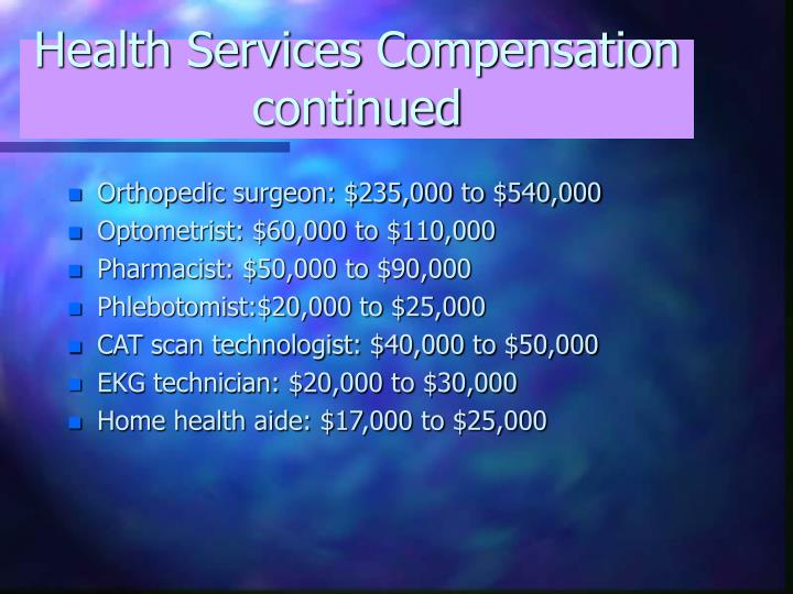 Health Services Compensation continued