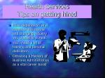 health services tips on getting hired
