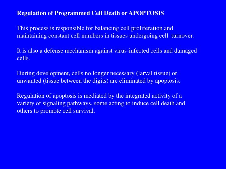 Regulation of Programmed Cell Death or APOPTOSIS