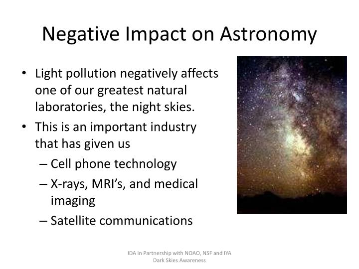 Negative Impact on Astronomy