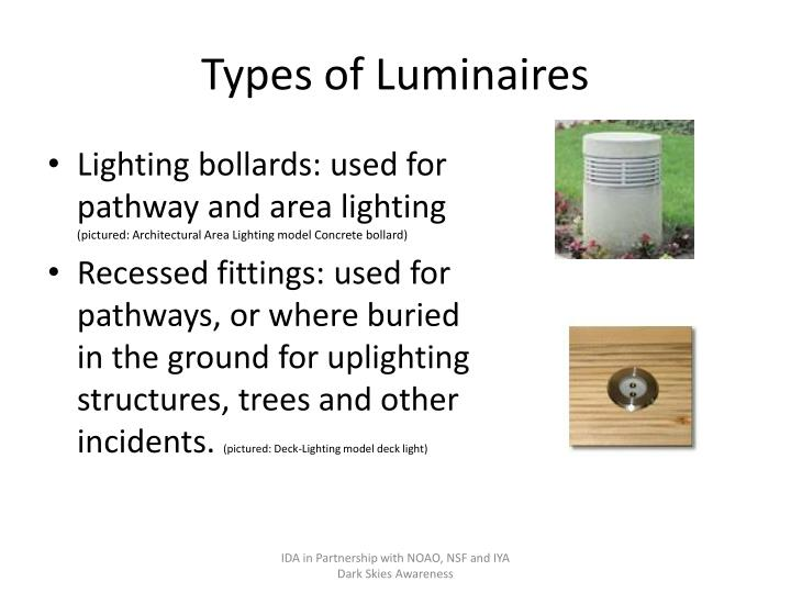 Types of Luminaires