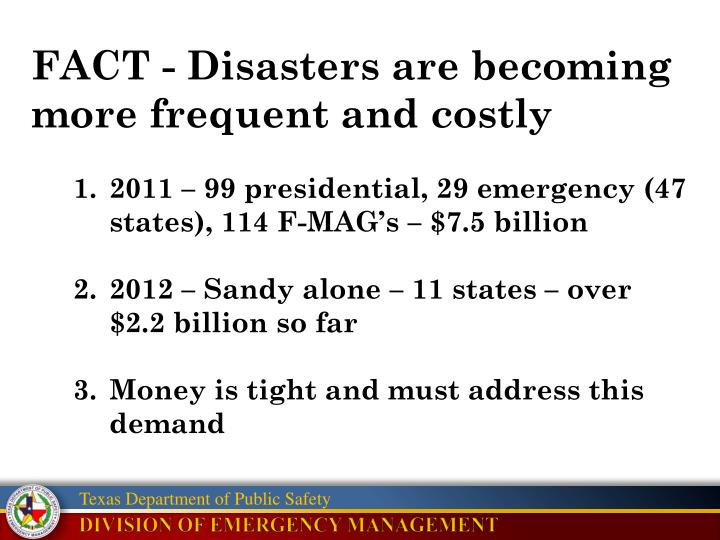 FACT - Disasters are becoming more frequent and costly