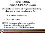 sfm tool fema spend plan