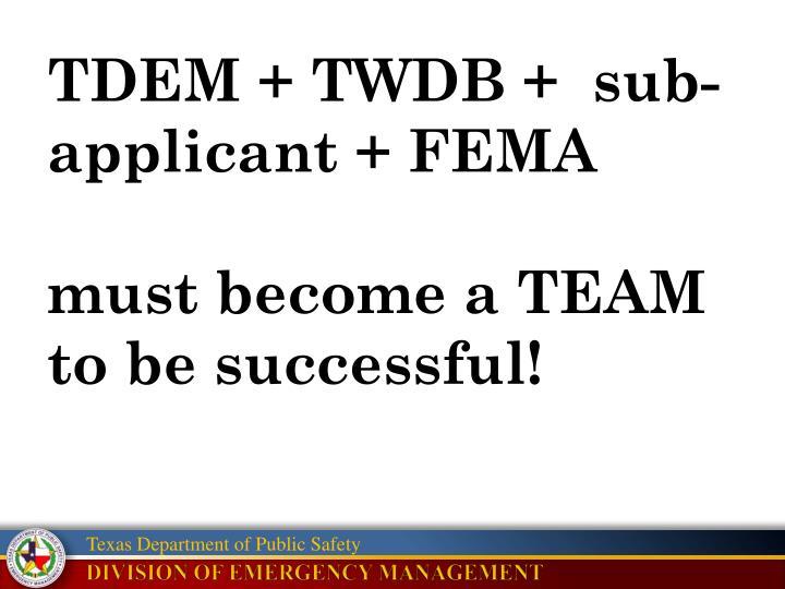 TDEM + TWDB +  sub-applicant + FEMA