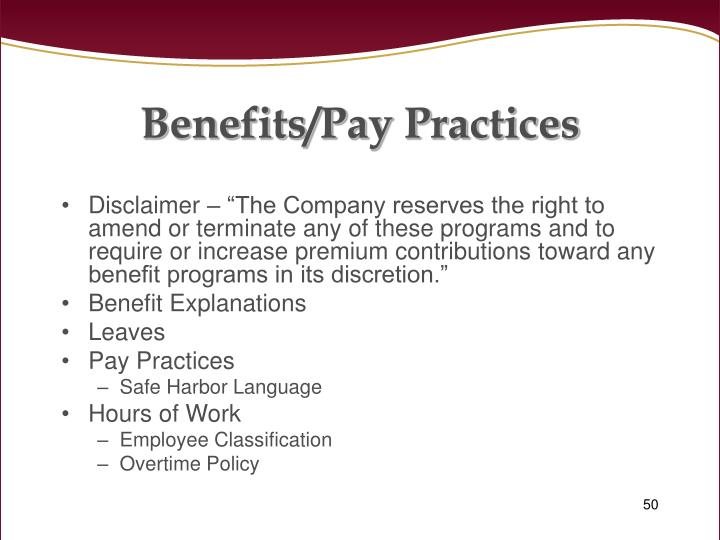 Benefits/Pay Practices