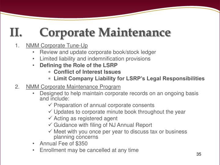 Corporate Maintenance