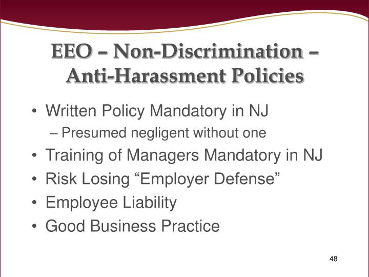 EEO – Non-Discrimination –