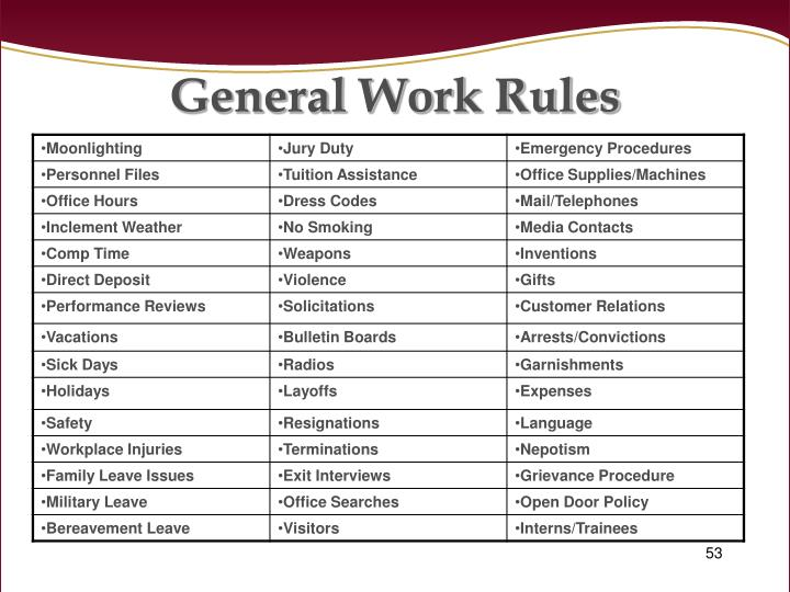 General Work Rules