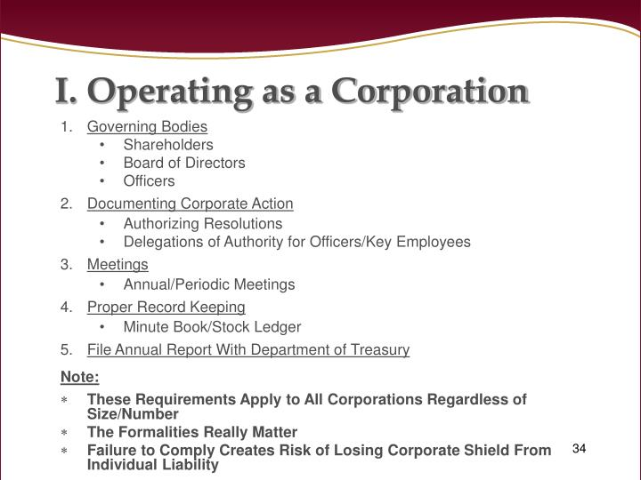 Operating as a Corporation