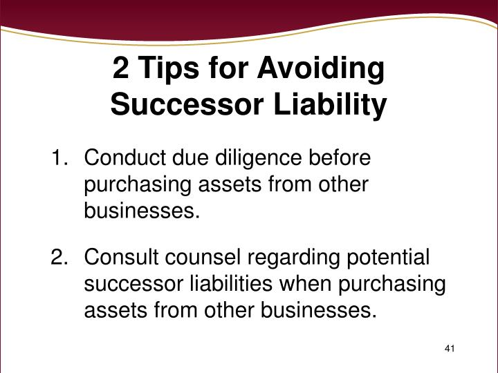 2 Tips for Avoiding Successor Liability