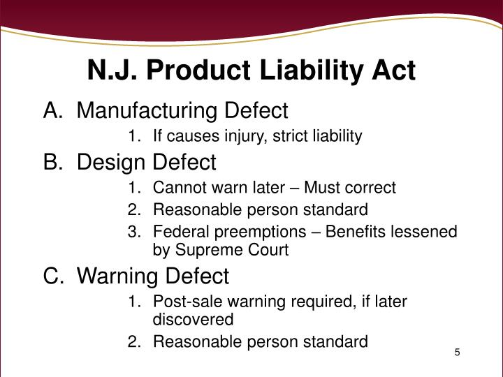 N.J. Product Liability Act