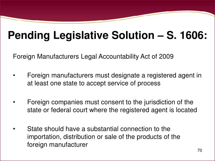 Pending Legislative Solution – S. 1606: