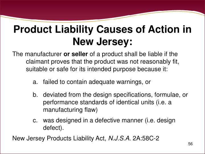 Product Liability Causes of Action in New Jersey: