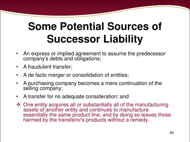 Some Potential Sources of Successor Liability