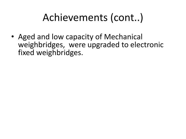 Achievements (cont..)