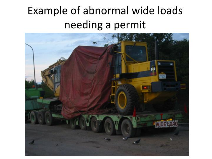 Example of abnormal wide loads needing a permit