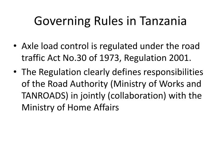 Governing Rules in Tanzania