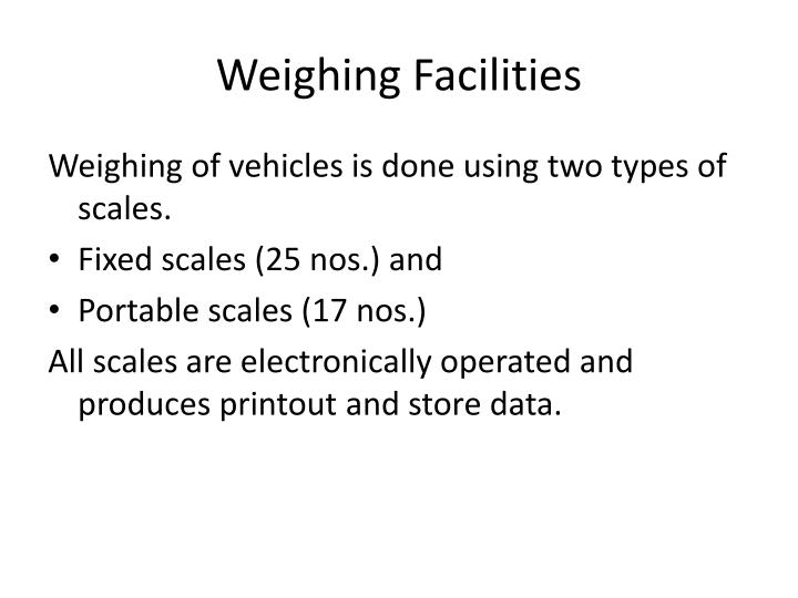 Weighing Facilities