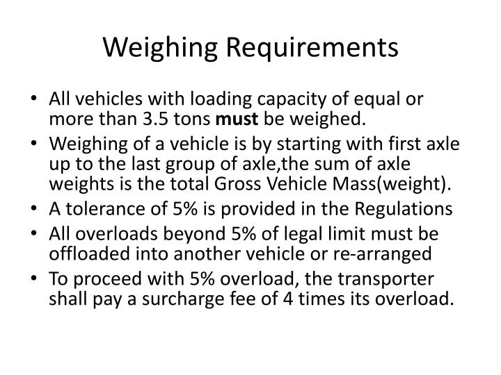 Weighing Requirements