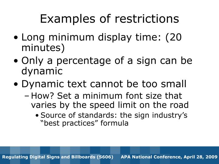 Examples of restrictions
