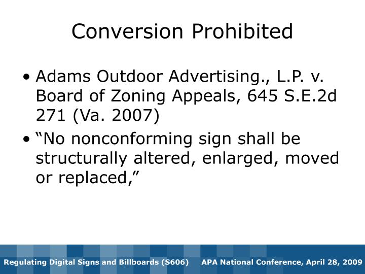 Conversion Prohibited