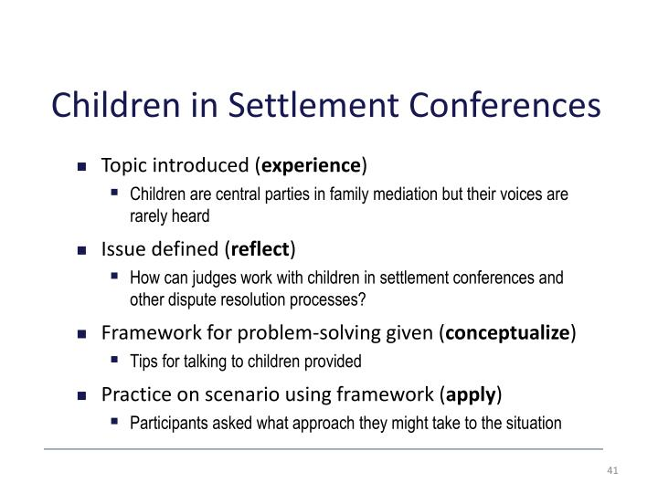 Children in Settlement Conferences