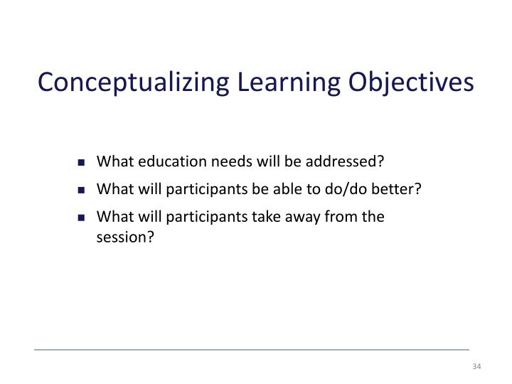 Conceptualizing Learning Objectives