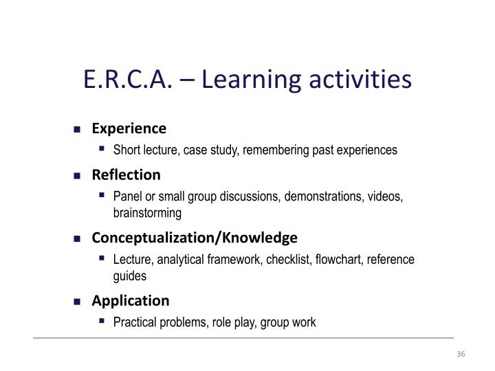 E.R.C.A. – Learning activities