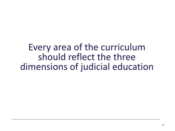 Every area of the curriculum should reflect the three dimensions of judicial
