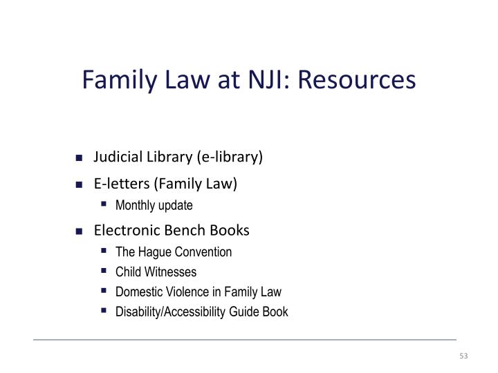 Family Law at NJI: Resources