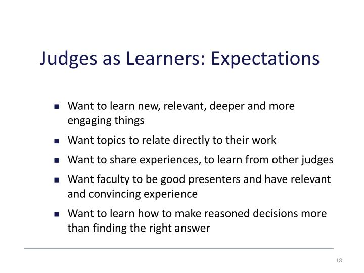 Judges as Learners: Expectations