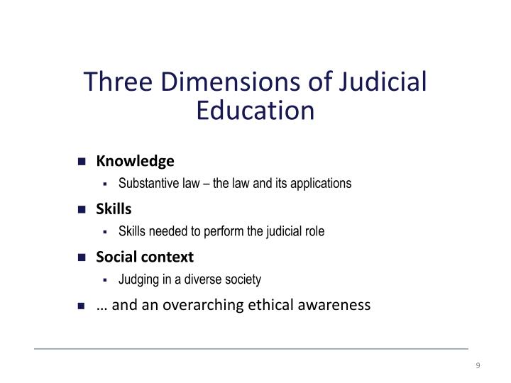 Three Dimensions of Judicial Education