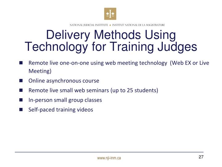 Delivery Methods Using Technology for Training Judges