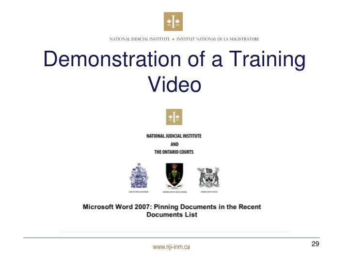 Demonstration of a Training Video
