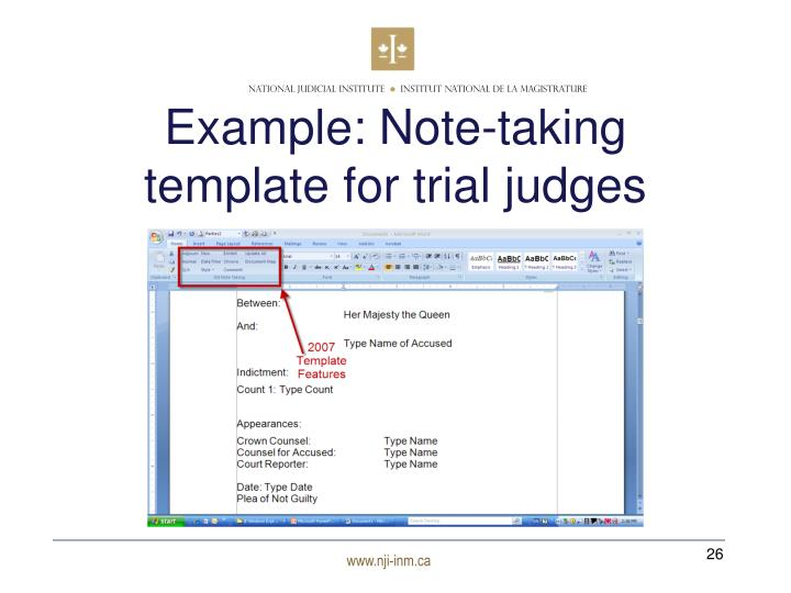 Example: Note-taking template for trial judges