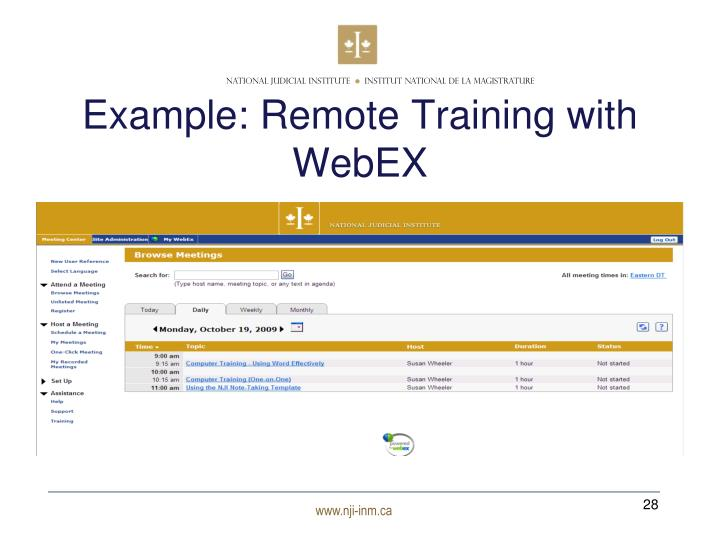 Example: Remote Training with WebEX