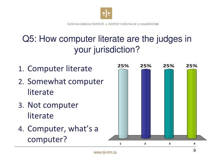 Q5: How computer literate are the judges in your jurisdiction?