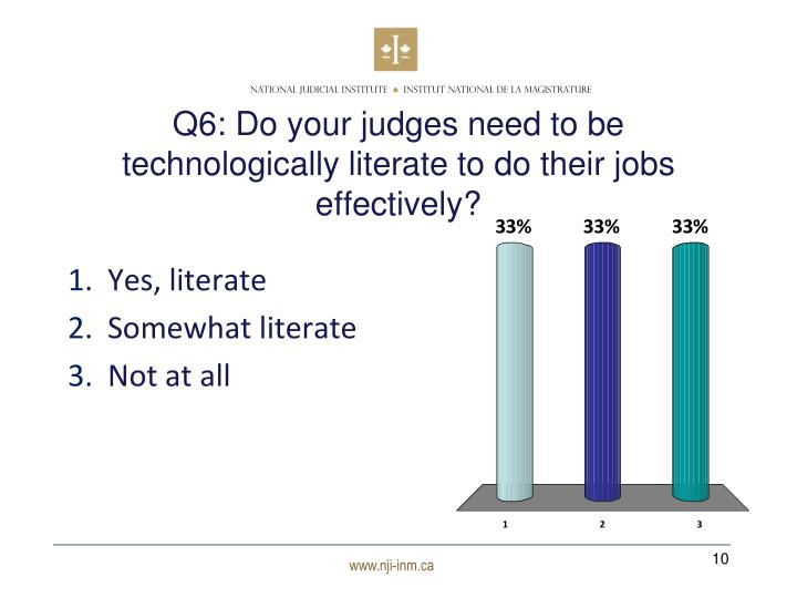 Q6: Do your judges need to be technologically literate to do their jobs effectively?