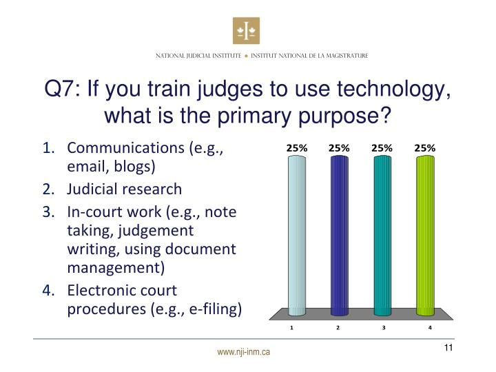 Q7: If you train judges to use technology, what is the primary purpose?